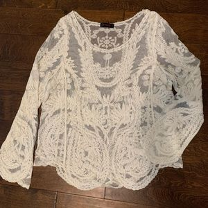 1X sheer white cream lace blouse